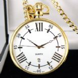 Gold Plated Pocket Watch, Quartz, PERSONALISED ref SUPW